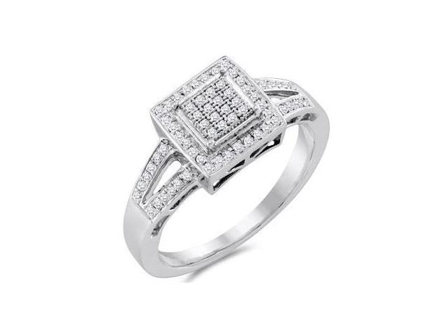 Diamond Anniversary Ring 10k White Gold Bridal Micro Pave (1/5 Carat)