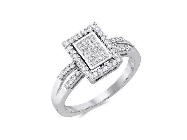 Diamond Anniversary Ring 10k White Gold Bridal Micro Pave (0.29 Carat)