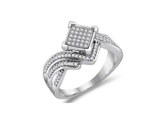 Diamond Anniversary Ring 10k White Gold Bridal Micro Pave (1/3 Carat)