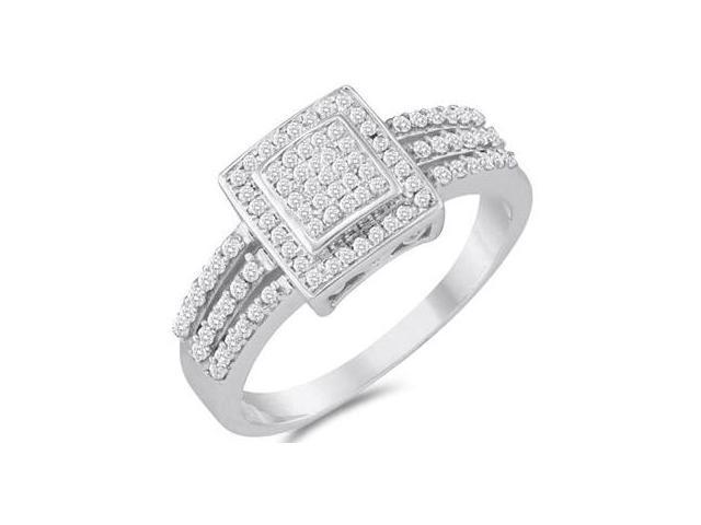 Micro Diamond Anniversary Ring 10k White Gold Bridal (1/4 Carat)