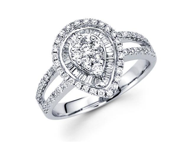 Diamond Anniversary Pear Shape Ring 18k White Gold Fancy Band (0.83ct)