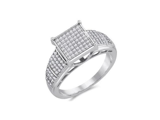 Womens Diamond Fashion Ring 10k White Gold Micro Pave Bridal (1/4 ctw)