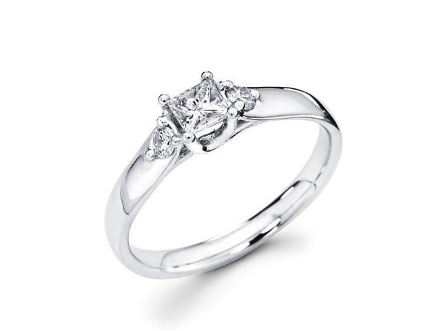 Three Stone Round Diamond Ring Anniversary 14k White Gold (1/3 Carat)