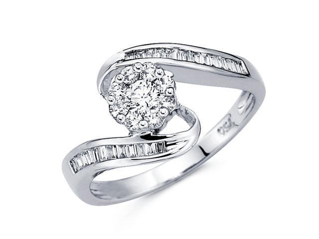 Diamond Anniversary Ring 18k White Gold Fancy Cluster Band (0.44 CTW)