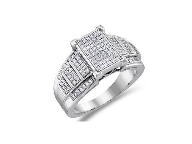 Womens Diamond Fashion Ring 10k White Gold Bridal Micro Pave (1/3 ctw)