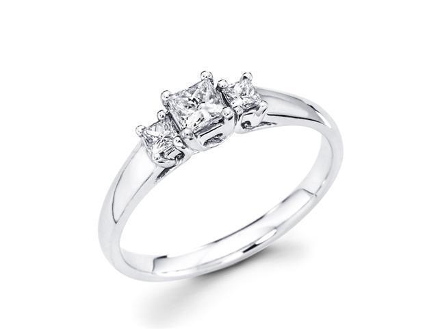 Princess Three Stone Diamond Ring Anniversary 14k White Gold (0.42ct)