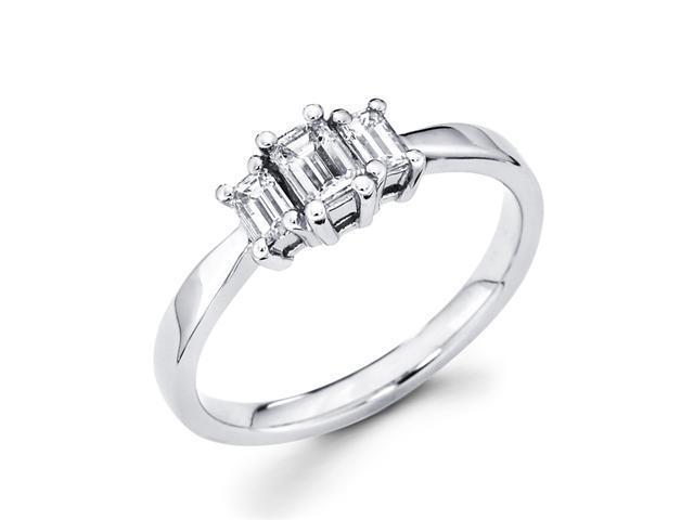 Three Stone Emerald Diamond Ring 14k White Gold Anniversary (1/2 CTW)