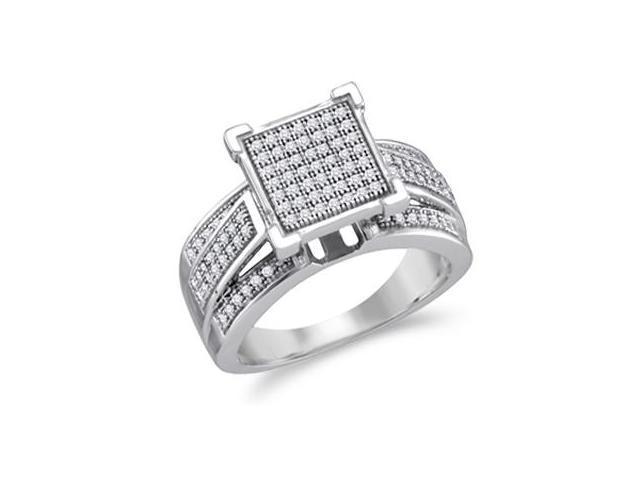 Diamond Engagement Ring 10k White Gold Bridal Micro Pave (1/3 Carat)
