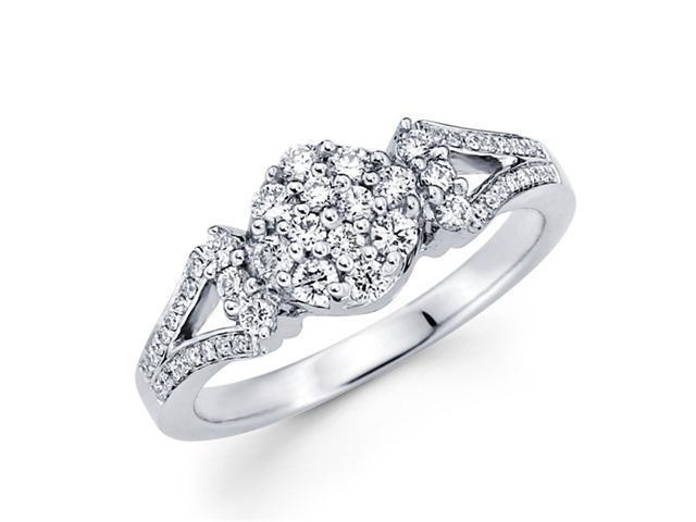 Round Diamond Anniversary Ring 18k White Gold Fancy Bridal (0.43 CTW)