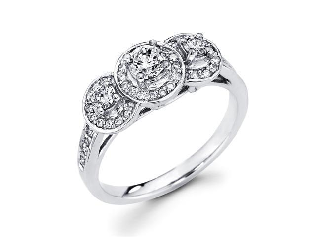 Round Three Stone Diamond Ring 14k White Gold Anniversary (2/3 Carat)