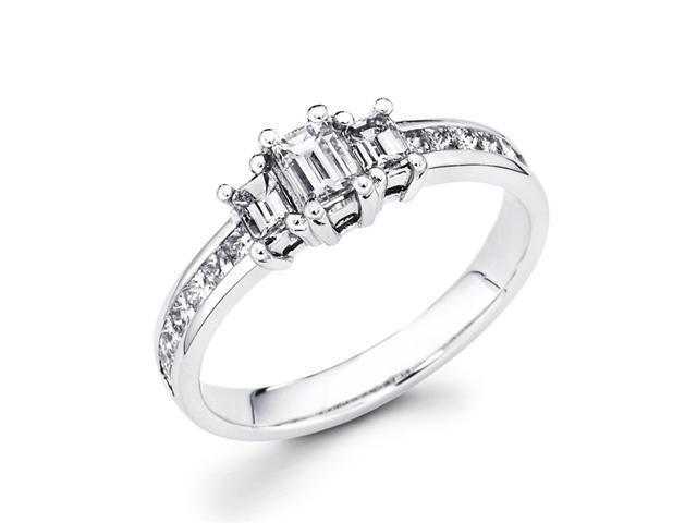 Emerald Three Stone Diamond Ring 14k White Gold Anniversary (0.95 CTW)