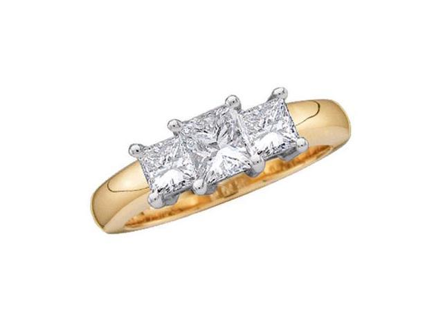 Princess Three Stone Diamond Ring 14k Yellow Gold Bridal (1.50 Carat)