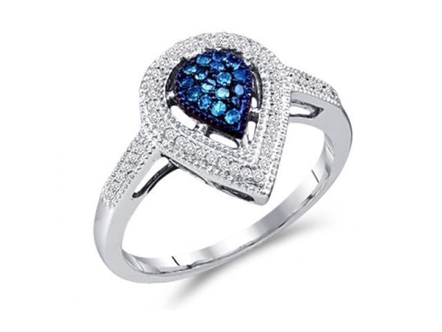 Aqua Blue Diamond Ring Pear Shape Setting 10k White Gold (1/4 Carat)