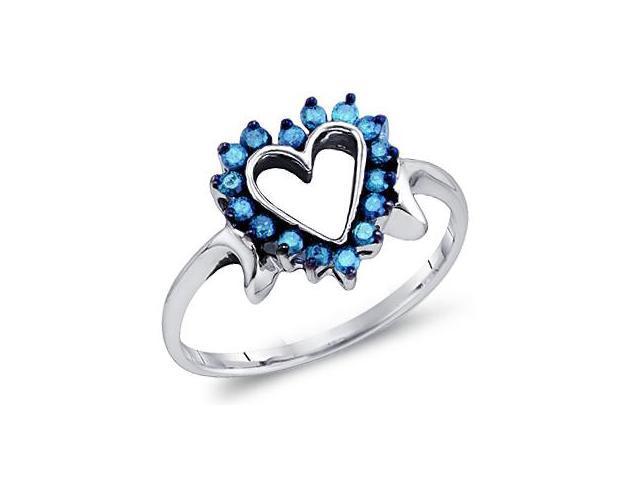 Aqua Blue Diamond Heart Ring Anniversary 10k White Gold (1/4 Carat)