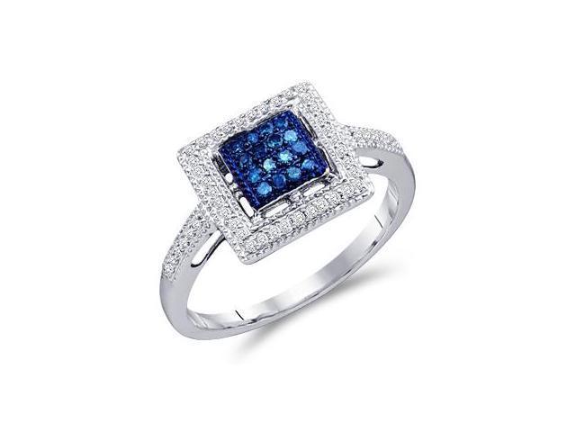 Blue Aqua Diamond Ring 10k White Gold Square Anniversary (1/4 Carat)