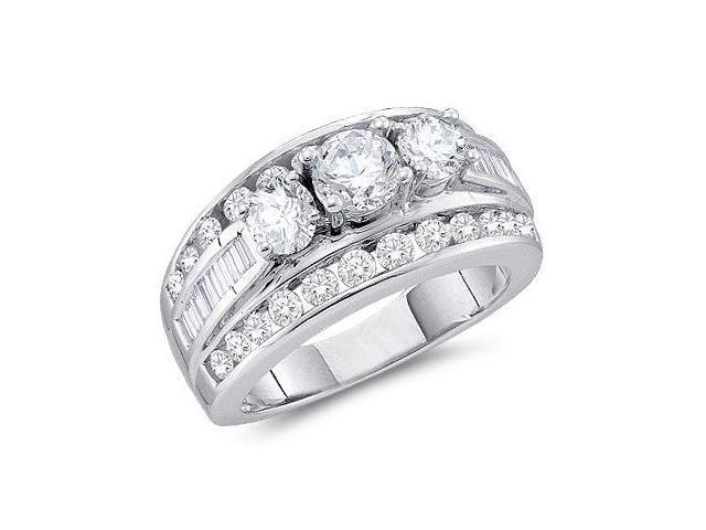 Engagement Three Stone Diamond Ring 14k White Gold (3.00 Carat)