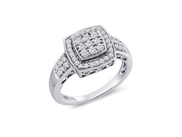 Diamond Ring Womens Anniversary 10k White Gold (1/2 Carat)