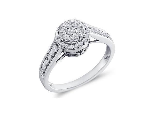 Womens Diamond Ring Anniversary 10k White Gold (1/2 Carat)