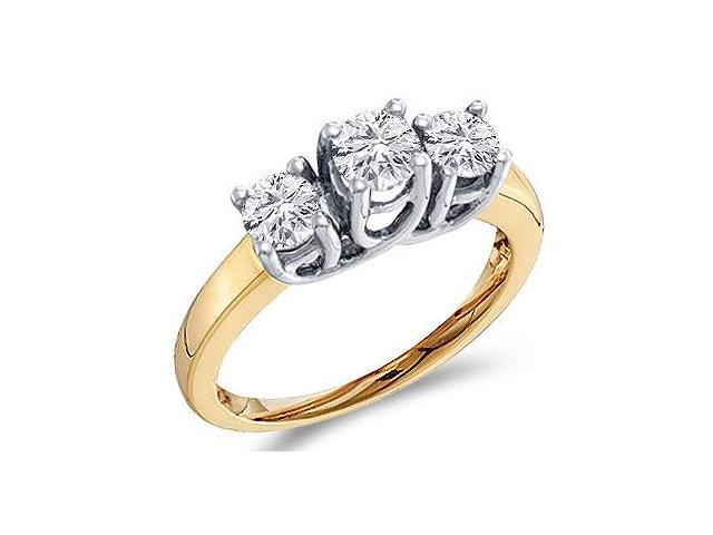 Three Stone Diamond Ring 14k White Yellow Gold Round Bridal (1.00 CT)
