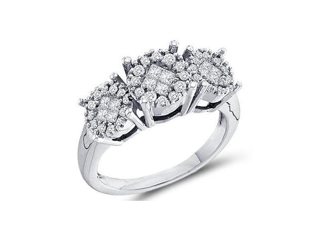 Diamond Ring Three Stone Setting 14k White Gold Bridal (0.50 Carat)