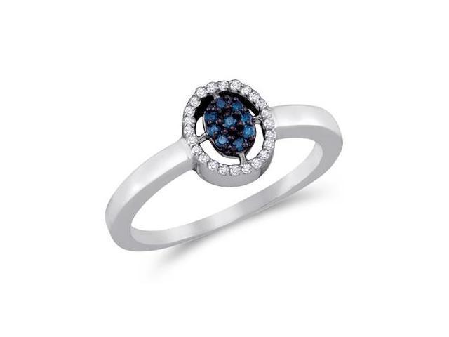 Aqua Blue Diamond Ring Cluster Flower 14k White Gold (0.17 Carat)