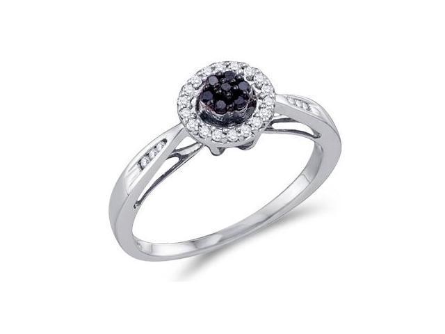 White & Black Diamond Ring Cluster Circle 10k White Gold (1/5 Carat)