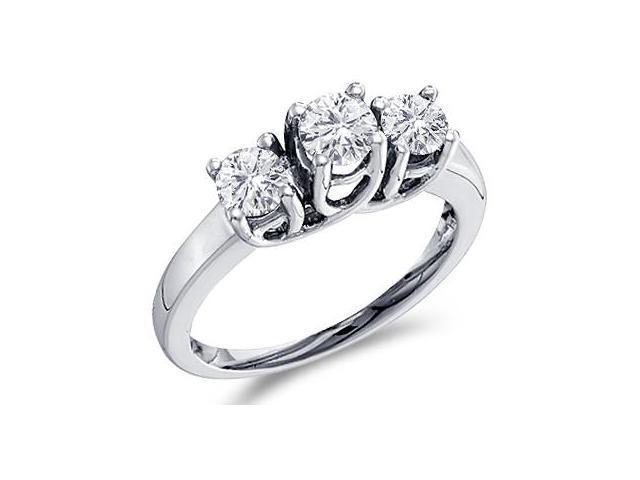 Round Three Stone Diamond Ring 14k White Gold Engagement (1.00 Carat)