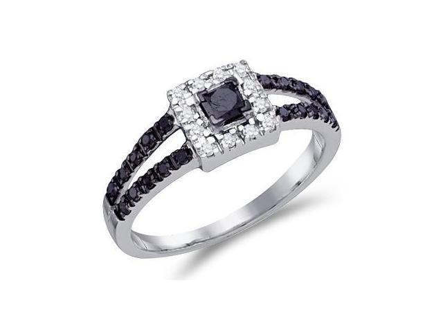 White & Black Diamond Ring 10k White Gold Anniversary Band (0.58 CTW)