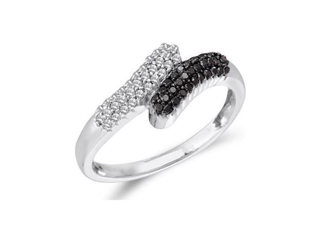 White & Black Diamond Band 14k White Gold Fashion Ring (1/4 Carat)