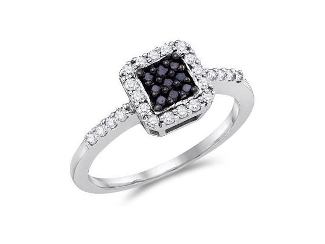 Black & White Diamond Ring 10k White Gold Anniversary (0.38 Carat)