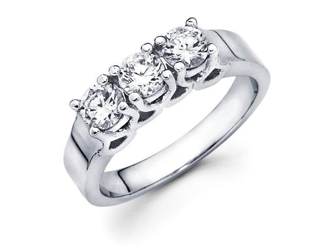 Round Three Stone Diamond Ring Anniversary 14k White Gold (0.90 Carat)