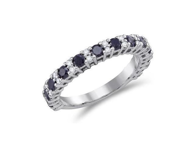 Black & White Diamond Band 14k White Gold Womens Fashion Ring (1.09ct)