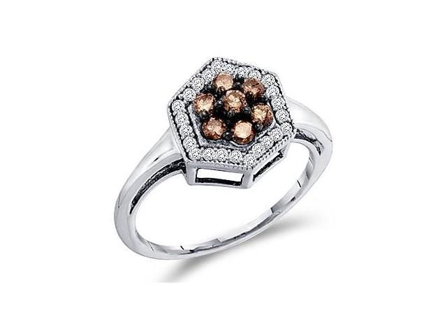 Brown Champagne Diamond Cluster Ring 10k White Gold Womens (1/2 Carat)