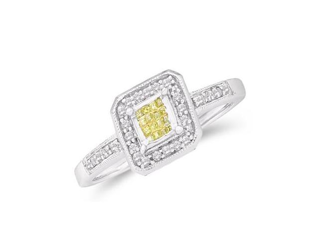 Yellow & White Diamond Ring 14k White Gold Anniversary (1/4 CT)