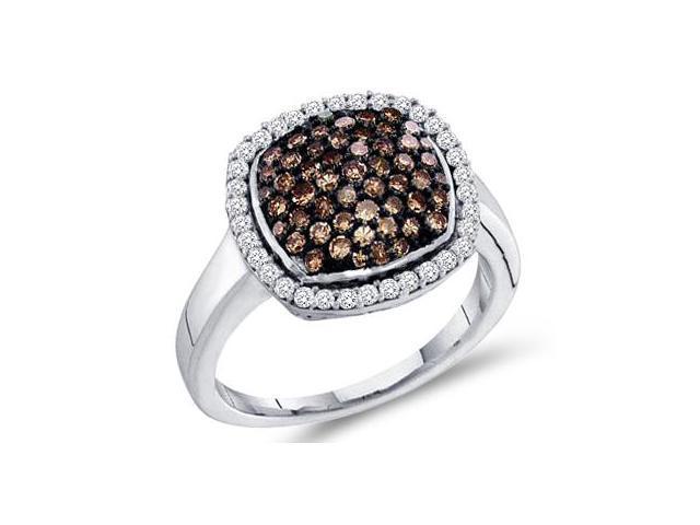 Champagne Brown Diamond Ring 10k White Gold Anniversary Band (0.95 CT)