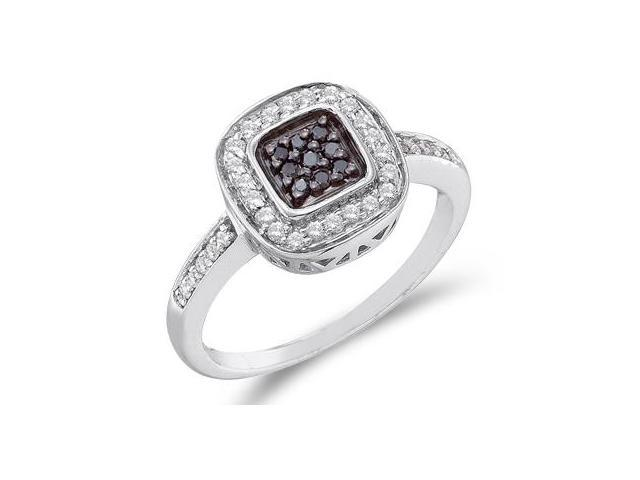 White & Black Diamond Ring 14k White Gold Womens Fashion (1/4 Carat)