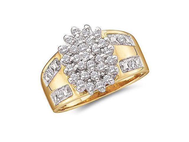 Cluster Diamond Ring 10k Yellow Gold Anniversary Ladies (1/2 Carat)