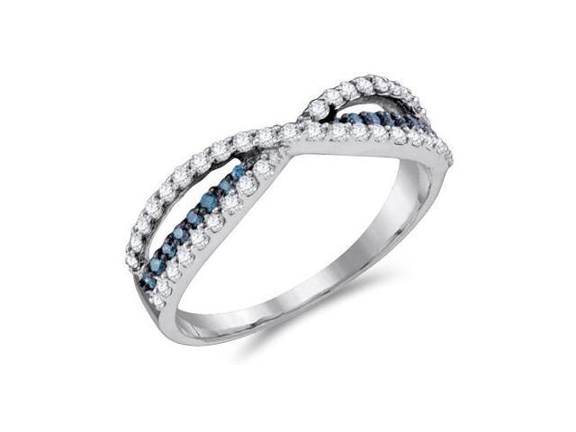 White & Aqua Blue Diamond Band 14k White Gold Anniversary (1/2 Carat)