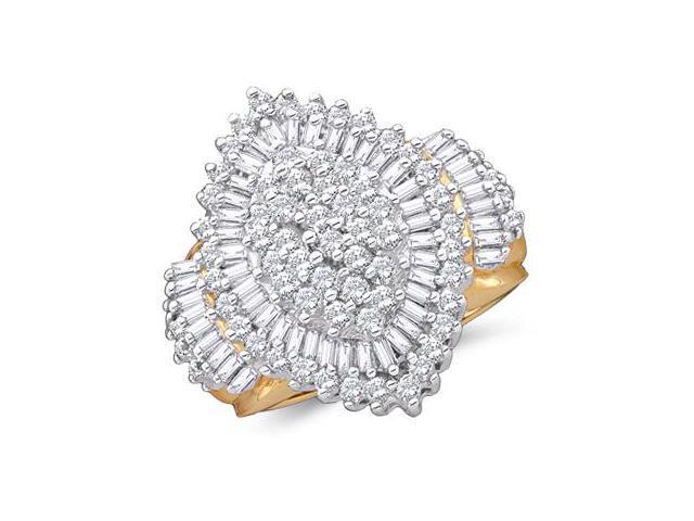 Diamond Cluster Ring 10k Yellow Gold Anniversary Womens (2.03 Carat)