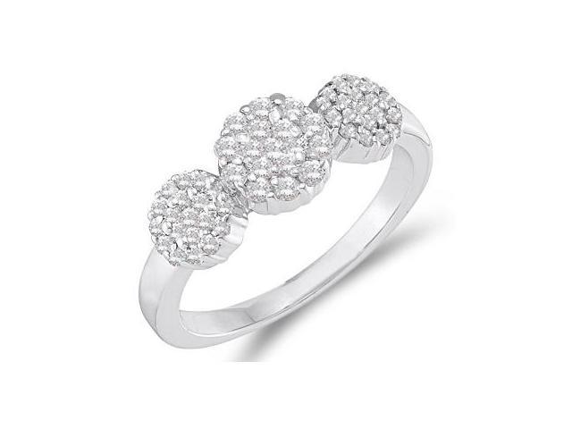 Diamond Ring Three Stone Cluster 14k White Gold (1/2 Carat)