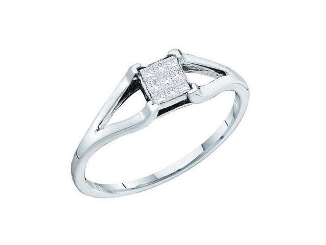 Princess Diamond Ring Solitaire Set Band 14k White Gold (0.12 Carat)