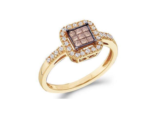 Champagne Brown Diamond Ring 14k Yellow Gold Anniversary (1/3 Carat)