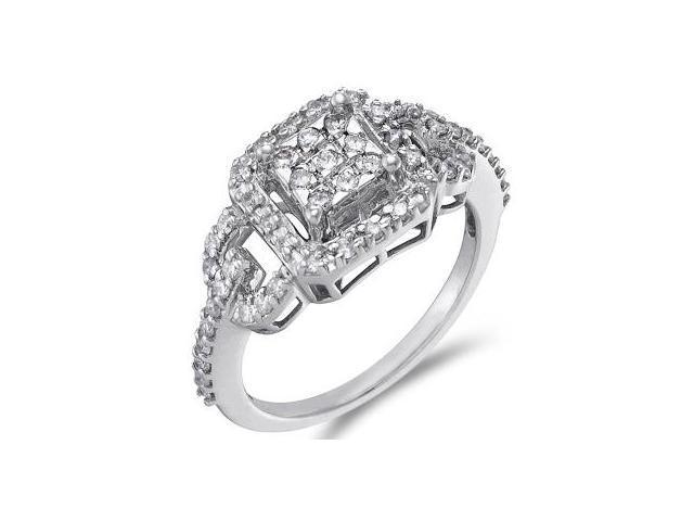 Diamond Anniversary Ring 14k White Gold Womens Band (1/2 Carat)