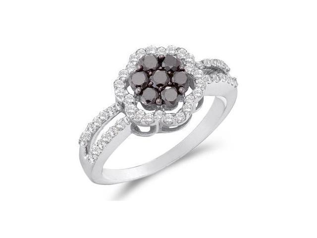 Black & White Diamond Cluster Ring 14k White Gold Flower (0.83 Carat)