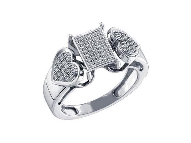 Diamond Hearts Ring Micro Pave Set 10k White Gold Womens (1/5 Carat)