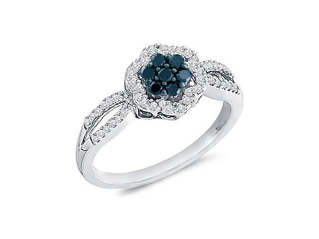 Black Diamond Anniversary Ring 10k White Gold Womens (1/3 Carat)