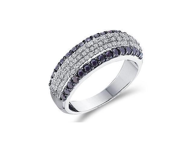 Black Diamond Band 14k White Gold Womens Anniversary Ring (0.97 Carat)