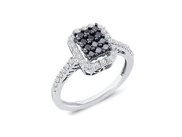 Black Diamond Anniversary Ring 10k White Gold Womens (1/2 Carat)
