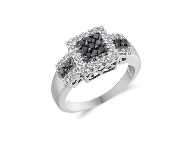 Black & White Diamond Ring 14k White Gold Womens Anniversary (1/2 CTW)