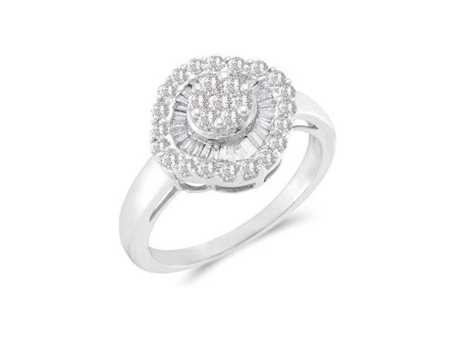 Right Hand Diamond Ring 14k White Gold Anniversary Cluster (3/4 Carat)
